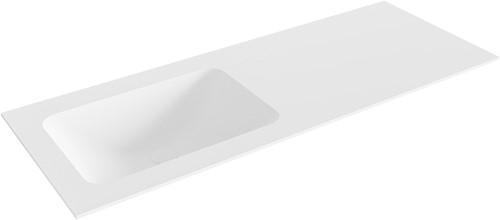 LEAF Talc solid surface inbouw wastafel 121cm Positie wasbak links
