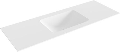 LEAF Talc solid surface inbouw wastafel 130cm Positie wasbak midden