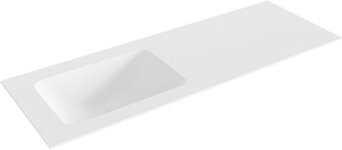 LEAF Talc solid surface inbouw wastafel 130cm Positie wasbak links