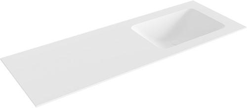 LEAF Talc solid surface inbouw wastafel 130cm Positie wasbak rechts