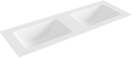 LEAF Talc solid surface inbouw wastafel 130cm dubbel