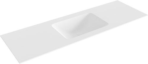 LEAF Talc solid surface inbouw wastafel 141cm Positie wasbak midden
