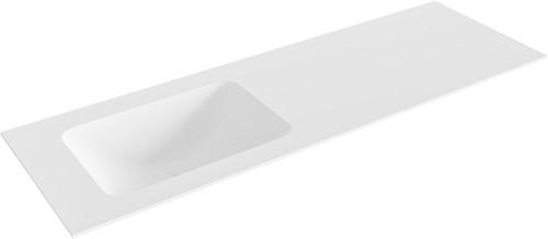 LEAF Talc solid surface inbouw wastafel 140cm Positie wasbak links