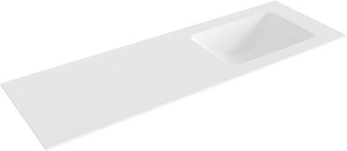 LEAF Talc solid surface inbouw wastafel 140cm Positie wasbak rechts