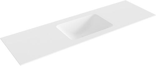 LEAF Talc solid surface inbouw wastafel 150cm Positie wasbak midden