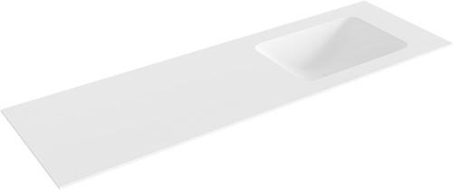 LEAF Talc solid surface inbouw wastafel 151cm Positie wasbak rechts