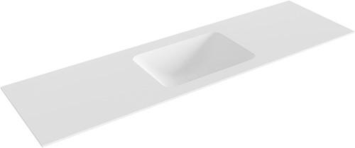 LEAF Talc solid surface inbouw wastafel 161cm Positie wasbak midden