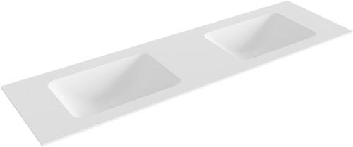 LEAF Talc solid surface inbouw wastafel 161cm dubbel