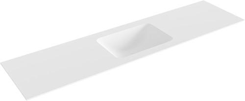 LEAF Talc solid surface inbouw wastafel 181cm Positie wasbak midden