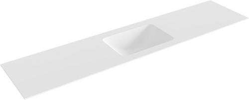 LEAF Talc solid surface inbouw wastafel 201cm midden