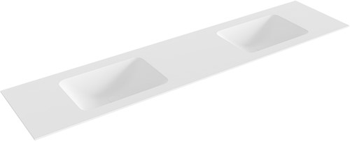 LEAF Talc solid surface inbouw wastafel 201cm dubbel