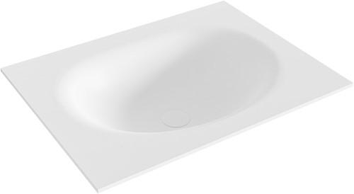 MOON Talc solid surface inbouw wastafel 60cm Positie wasbak midden