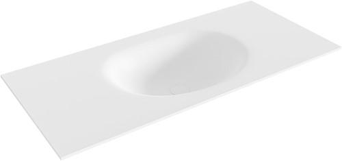 MOON Talc solid surface inbouw wastafel 100cm Positie wasbak midden