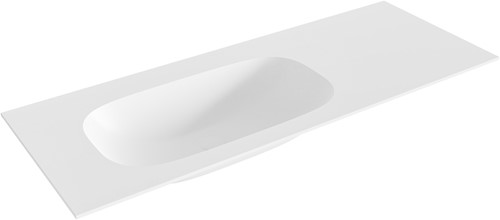 STOR small Talc solid surface inbouw wastafel 121cm links