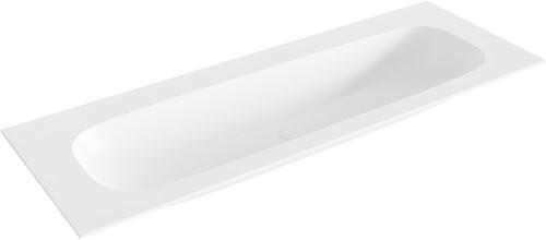 STOR large Talc solid surface inbouw wastafel 131cm midden