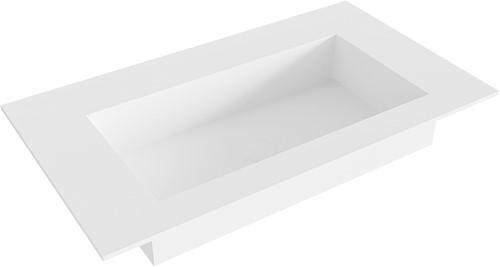 ZINK Talc solid surface inbouw wastafel 80cm Positie wasbak midden