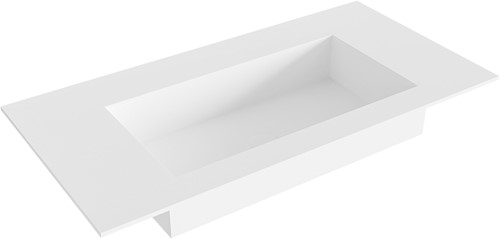 ZINK Talc solid surface inbouw wastafel 91cm Positie wasbak midden