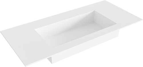 ZINK Talc solid surface inbouw wastafel 100cm Positie wasbak midden