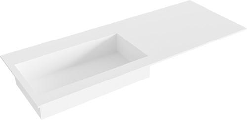 ZINK Talc solid surface inbouw wastafel 121cm Positie wasbak links