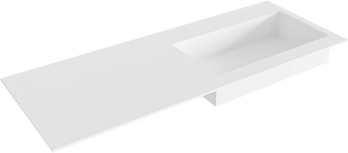 ZINK Talc solid surface inbouw wastafel 120cm Positie wasbak rechts