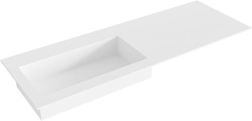 ZINK Talc solid surface inbouw wastafel 130cm Positie wasbak links