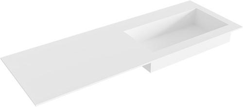 ZINK Talc solid surface inbouw wastafel 130cm Positie wasbak rechts