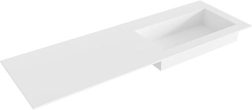 ZINK Talc solid surface inbouw wastafel 140cm Positie wasbak rechts