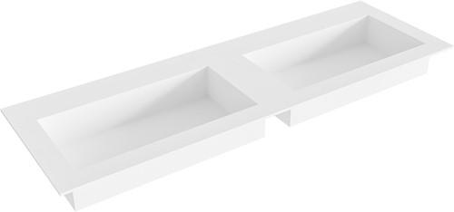 ZINK Talc solid surface inbouw wastafel 140cm dubbel