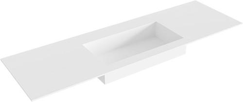 ZINK Talc solid surface inbouw wastafel 151cm Positie wasbak midden