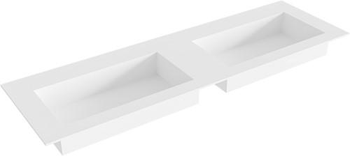 ZINK Talc solid surface inbouw wastafel 151cm dubbel