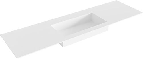 ZINK Talc solid surface inbouw wastafel 160cm Positie wasbak midden