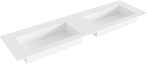 ZINK Talc solid surface inbouw wastafel 161cm dubbel