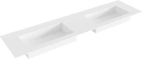 ZINK Talc solid surface inbouw wastafel 180cm dubbel