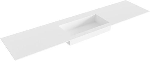 ZINK Talc solid surface inbouw wastafel 190cm Positie wasbak midden