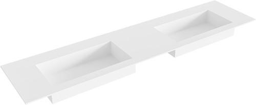 ZINK Talc solid surface inbouw wastafel 190cm dubbel