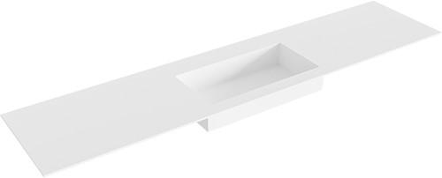 ZINK Talc solid surface inbouw wastafel 201cm midden