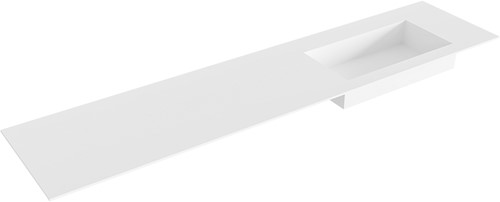 ZINK Talc solid surface inbouw wastafel 200cm Positie wasbak rechts