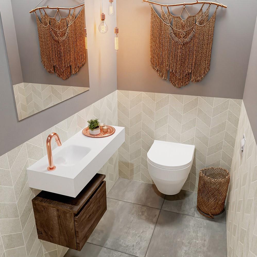 vrijhangende wastafel solid surface met fonteinmeubel 1 lade in hout kleur