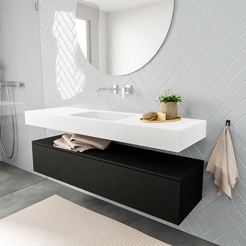 ALAN badmeubel 150  urban 1 lade vrijhangend wastafel midden zonder kraangat wit | voorraad