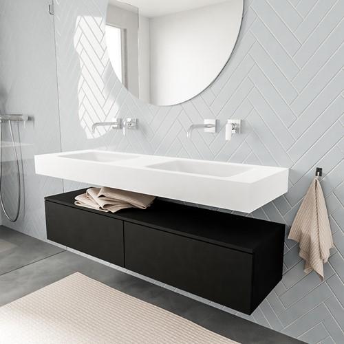 ALAN badmeubel 150  urban 2 lades vrijhangend wastafel dubbel zonder kraangat wit | voorraad