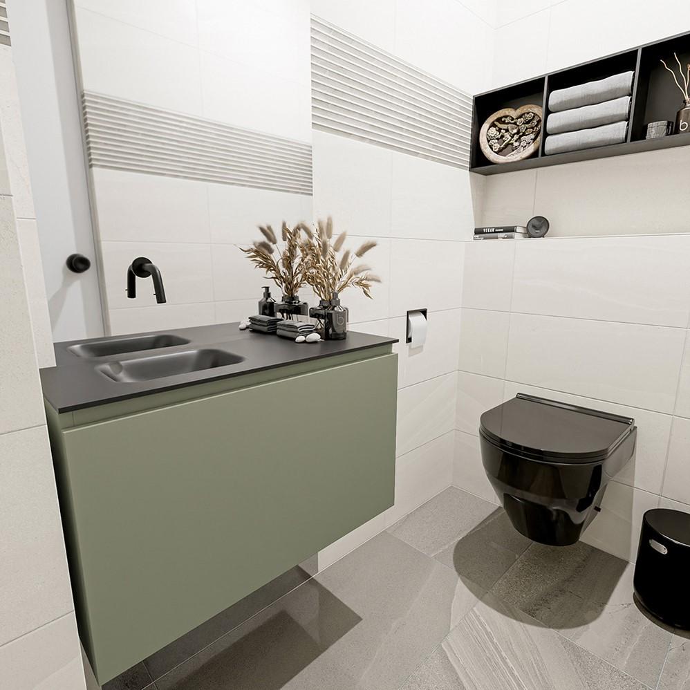 fonteinmeubel groen met 1 lade solid surface wastafel zwart Olan
