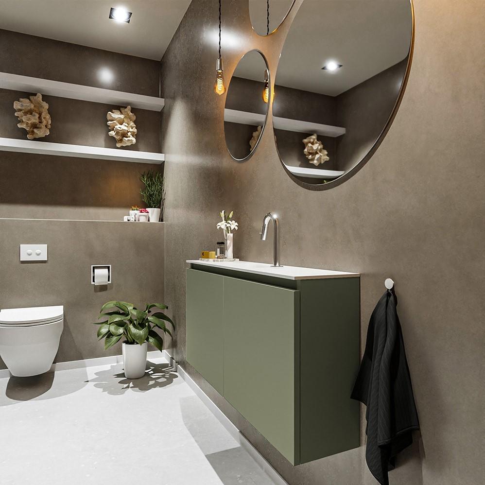 toiletmeubel ture in het groen met 2 deuren en solid surface wastafel in het wit
