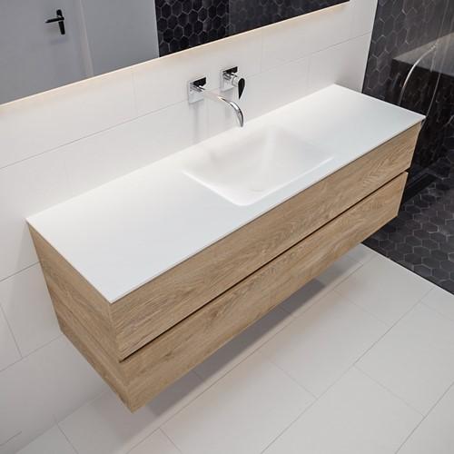 VICA 150 badmeubel washed oak 2 lades CLOUD midden geen kraangat | voorraad