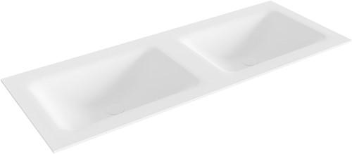 CLOUD Talc solid surface inbouw wastafel 121cm dubbel | voorraad