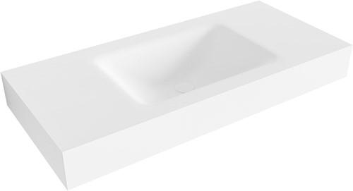 CLOUD Talc vrijhangende wastafel 100cm midden rand 12cm | voorraad