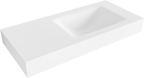 CLOUD Talc vrijhangende wastafel 100cm rechts rand 12cm | voorraad