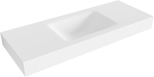CLOUD Talc vrijhangende wastafel 120cm midden rand 12cm   voorraad