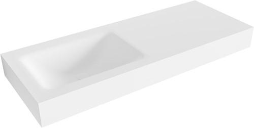 CLOUD Talc vrijhangende wastafel 120cm links rand 12cm   voorraad