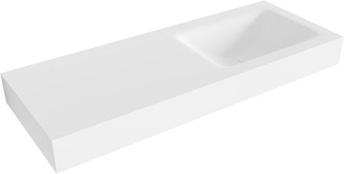 CLOUD Talc vrijhangende wastafel 120cm rechts rand 12cm | voorraad