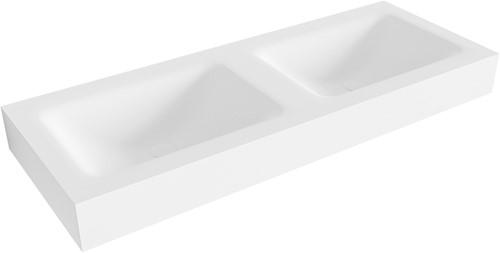 CLOUD Talc vrijhangende solid surface wastafel 120cm dubbel rand 12cm | voorraad